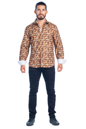 DKL-15 BROWN MULTI PRINTED SHIRT 6PK