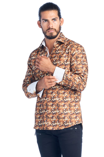 MEN'S GOLD ELEGANT FASHION SHIRT | HARD SODA DKL-15