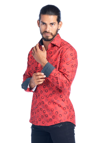 MEN'S RED ELEGANT FASHION SHIRT | HARD SODA DKL-16
