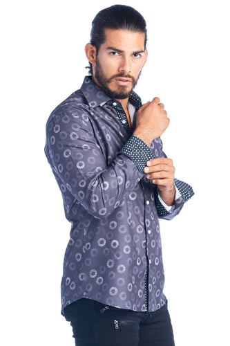 MEN'S CHARCOAL ELEGANT FASHION SHIRT | HARD SODA DKL-17