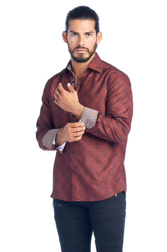 MEN'S RUST ELEGANT FASHION SHIRT | HARD SODA DKL-18