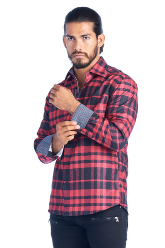 MEN'S RED PLAID ELEGANT FASHION SHIRT | HARD SODA DKL-19