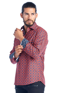 MEN'S RED & BLUE ELEGANT FASHION SHIRT | HARD SODA DKL-1 RED