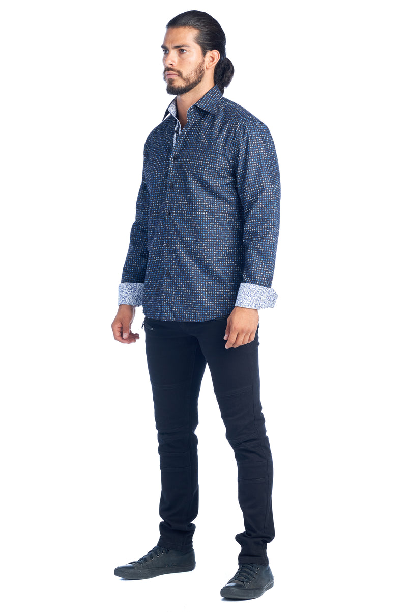 DKL-22  BLUE PRINTED SHIRT LONG SLEEVE 6PK