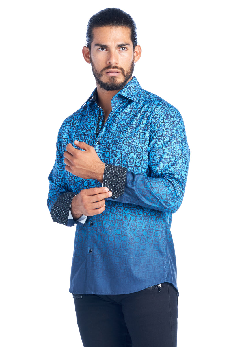 DKL-27 OMBRE BLUE LONG SLEEVE DRESS SHIRT 6PK