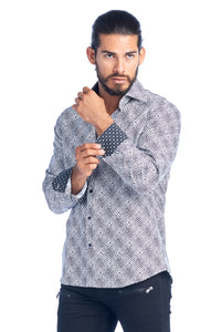 MEN'S WHITE & BLACK ELEGANT FASHION SHIRT | HARD SODA DKL-2 WHT