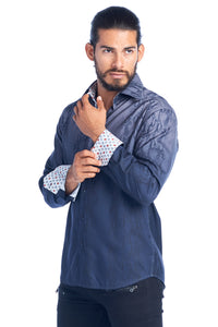 MEN'S GRAY OMBRE ELEGANT FASHION SHIRT | HARD SODA DKL-5 GREY