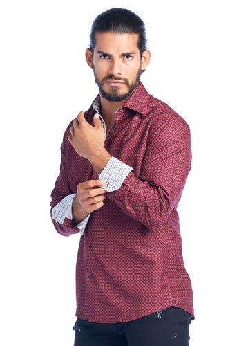 MEN'S BURGUNDY ELEGANT FASHION SHIRT | HARD SODA DKL-7 BURG