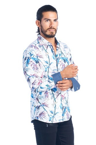 MEN'S WHITE TROPICAL ELEGANT FASHION SHIRT | HARD SODA DKL-8