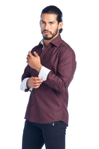 MEN'S BURGUNDY DIAMONDS ELEGANT FASHION SHIRT | HARD SODA DKL-9