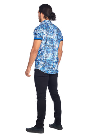 DKS-12  MULTI BLUE PRINTED SHORT SLEEVE SHIRT 6PK