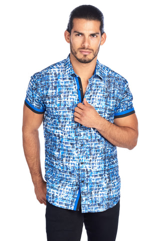 MEN'S BLUE PAINT STROKE PLAID DESIGN MODERN EXCLUSIVE | HARD SODA DKS-12 BLUE