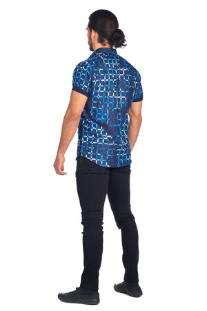 DKS-13 NAVY GEO PRINTED SHORT SLEEVE SHIRT 6PK