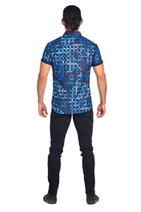 MEN'S NAVY GRID DESIGN PRINT MODERN EXCLUSIVE | HARD SODA DKS-13
