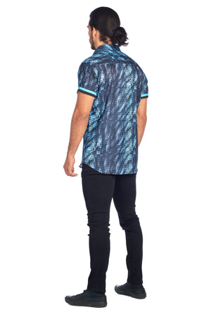 DKS-1-TURQUOISE FADED DOT PRINTED SHORT SLEEVE SHIRT 6PK