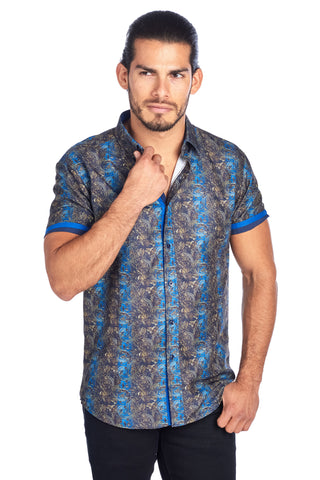 MEN'S NAVY AND GOLD LEAF PAISLEY PRINT DESIGN MODERN EXCLUSIVE | HARD SODA DKS-5 NAVY