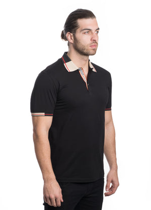 GG-1910-BLACK  POLO CONTRAST COLLAR 6PK