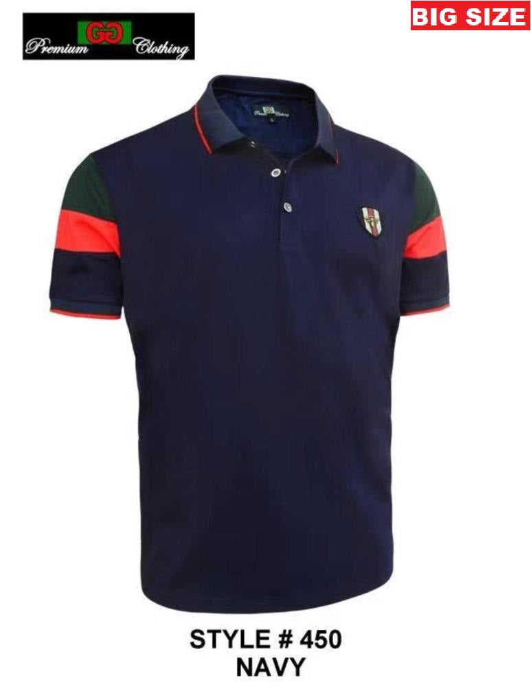 GG-450B-NAVY BIG SIZE STRETCH POLO SHIRT - 6 PACK