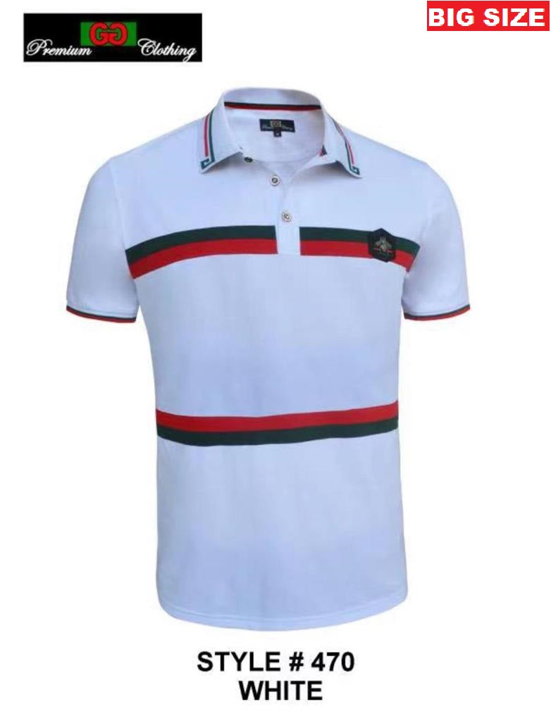 GG-470B-WHITE BIG SIZE STRETCH POLO SHIRT - 6 PACK