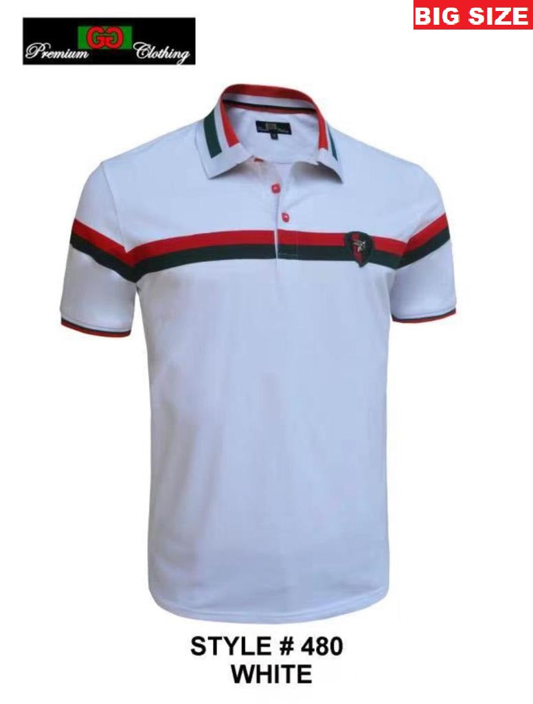 GG-480B-WHITE BIG SIZE STRETCH POLO SHIRT - 6 PACK