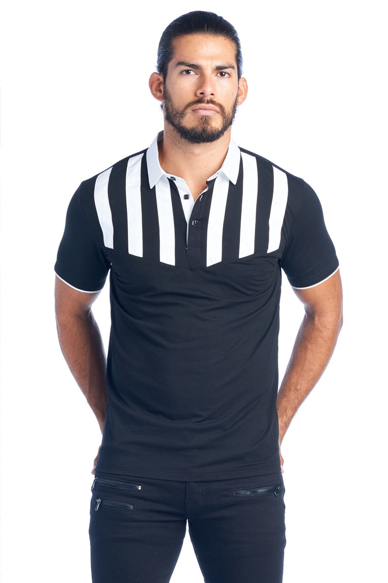 MDP-134  MEN'S BLK/WHT STRIPED MODERN POLO SHIRT