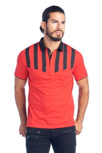 MEN'S RED & BLACK STRIPED MODERN POLO SHIRT | AMERICAN BREED MDP-134 RED/BLK