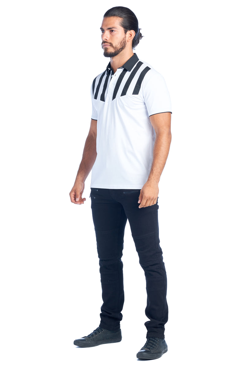 MDP-134  MEN'S WHT/BLK STRIPED MODERN POLO SHIRT