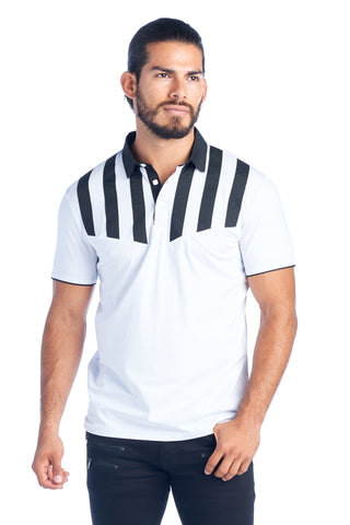 MEN'S WHITE STRIPED MODERN POLO SHIRT | AMERICAN BREED MDP-134 WHT/BLK