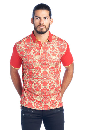 MDP-138 MEN'S RED FANCY POLO SHIRT