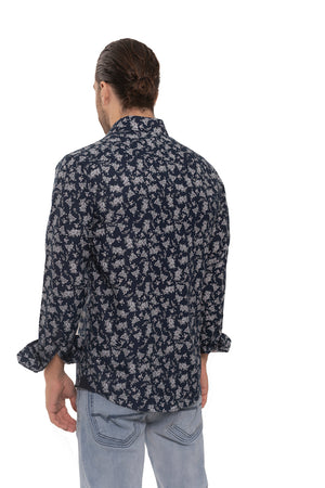 SS192-185L  MEN'S NAVY PRINTED LONG SLEEVE SHIRT