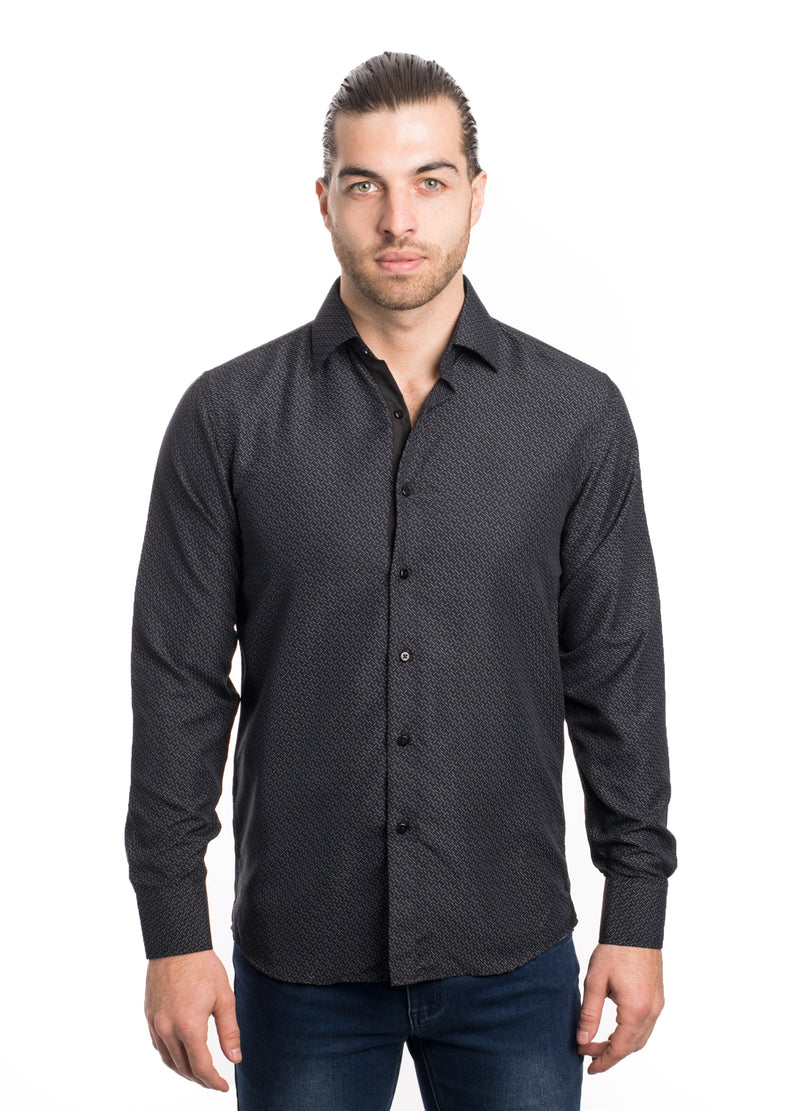 SS192-254L BLACK PRINTED SHIRT 6PK