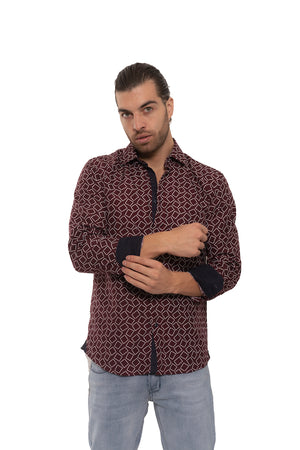 SS192-259L BURGUNDY PRINTED LONG SLEEVE SHIRT 6PK