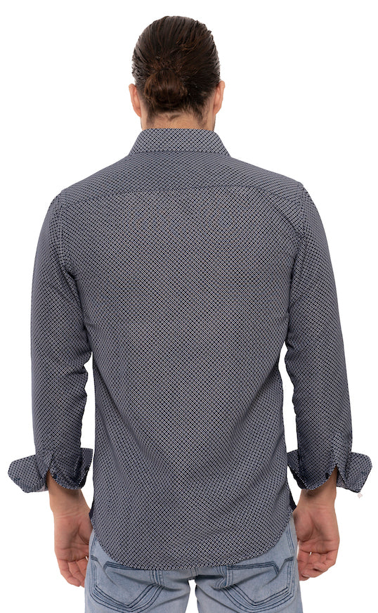 SS192-265L NAVY PRINTED LONG SLEEVE SHIRT 6PK
