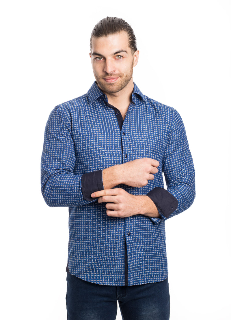 SS192-281L BLUE PRINTED SHIRT 6PK