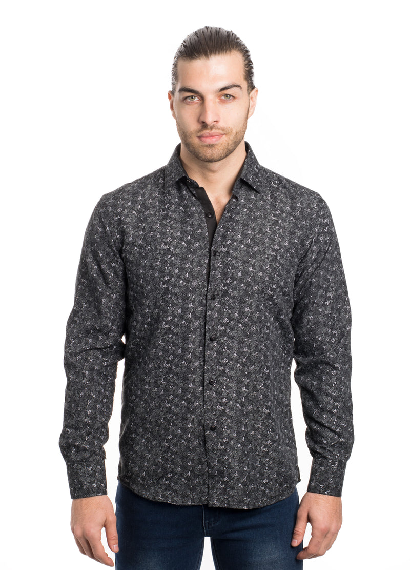 SS192-68L BLACK PRINTED LONG SLEEVE SHIRT 6PK