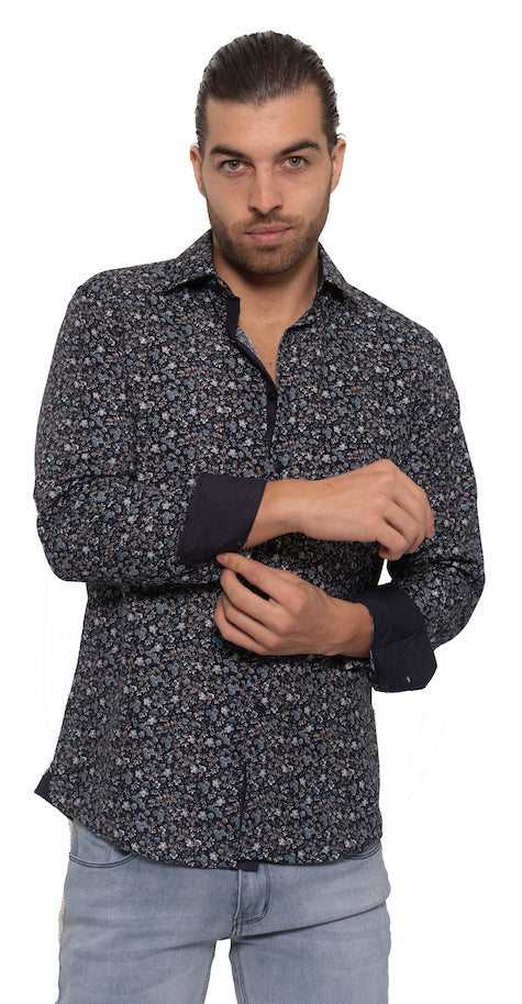 SS192-91L  BLUE FLORAL LONG SLEEVE SHIRT 6PK