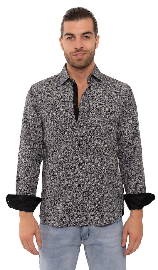 SS192-93L  BLACK PRINTED LONG SLEEVE SHIRT 6PK