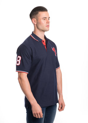 SSP-8181-NAVY- SOLID POLO W/PATCHES 6PK