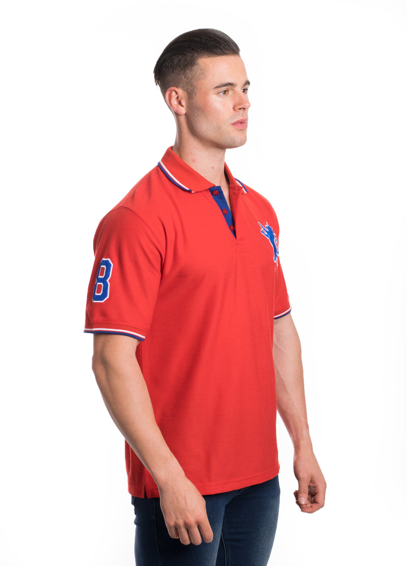 SSP-8181-RED- SOLID POLO W/PATCHES 6PK