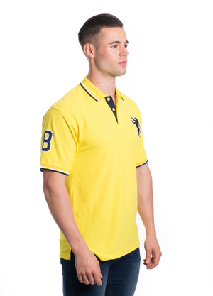 SSP-8181-YELLOW- SOLID POLO W/PATCHES 6PK