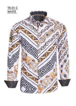 TK01C WHITE PRINTED LONG SLEEVE SHIRT 6PK