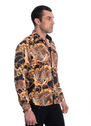 TK-103-BLACK  PRINTED STRETCH SHIRT 6PK