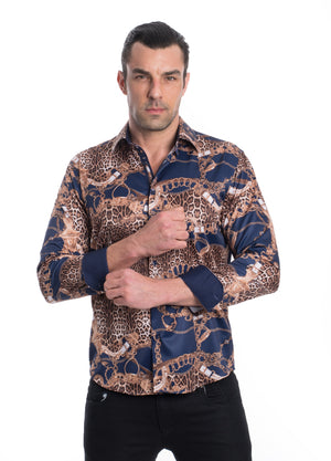 TK-103-NAVY  PRINTED STRETCH SHIRT 6PK