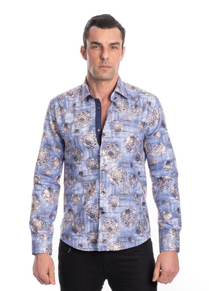 TK-130 BLUE METALLIC PRINTED SHIRT 6PK