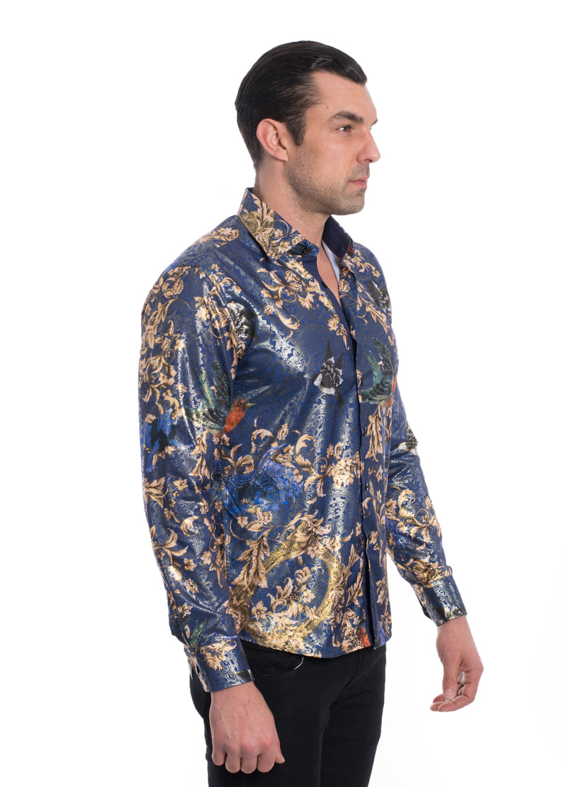 TK-132 NAVY METALLIC PRINTED SHIRT 6PK