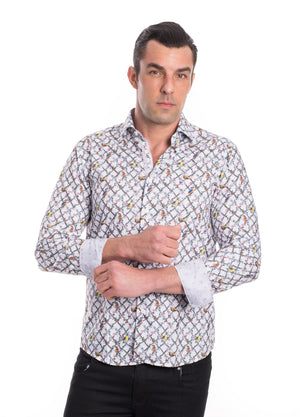 TK-23  WHITE PRINTED SHIRT 6PK