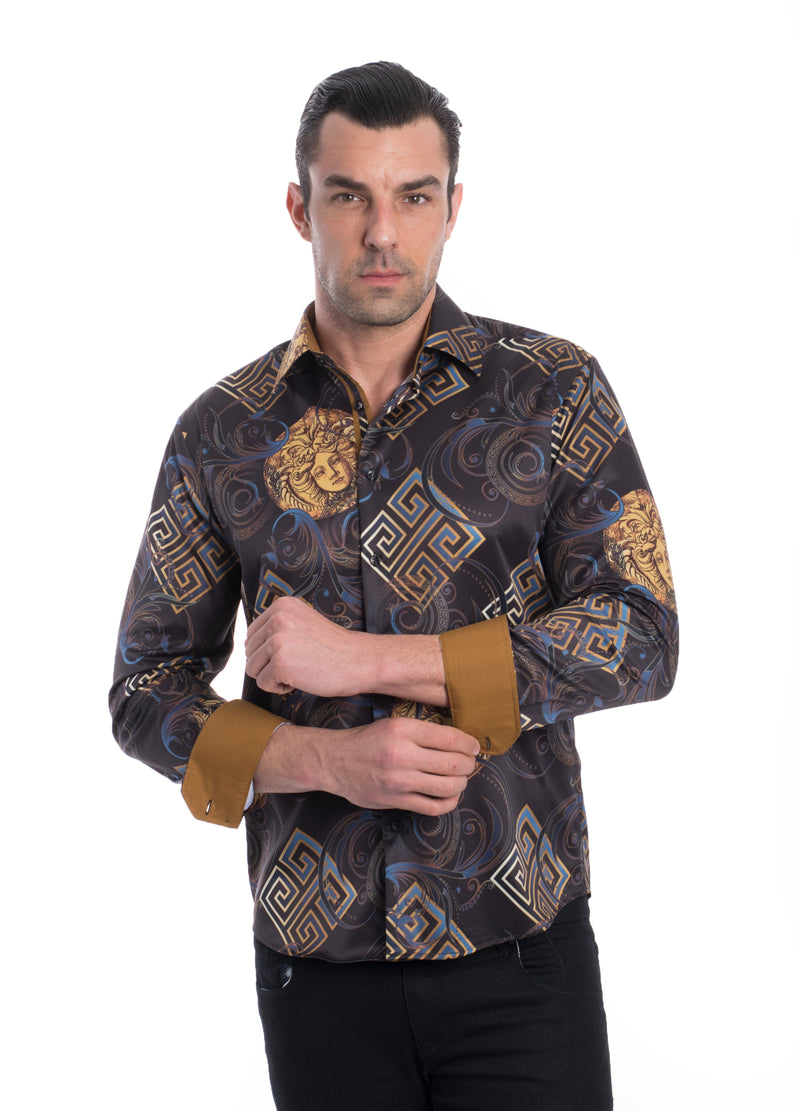 TK-99 BLACK PRINTED STRETCH SHIRT 6PK