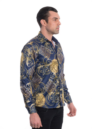 TK-99 NAVY PRINTED STRETCH SHIRT 6PK