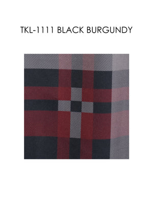TKL-1111-BLACK BURGUNDY STRETCH PLAID SHIRT 6PK