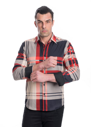 TKL-1111-RED KHAKI STRETCH PLAID SHIRT 6PK
